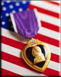 purple heart with flag background