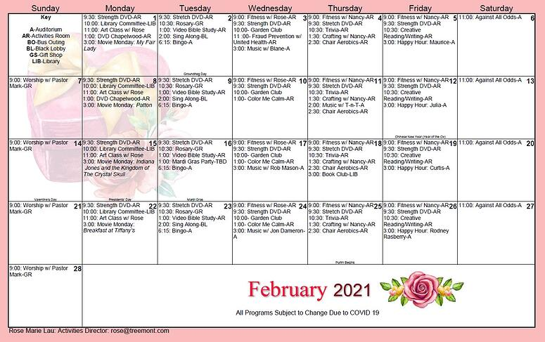 2021 Feb_activity calendar senior living houston