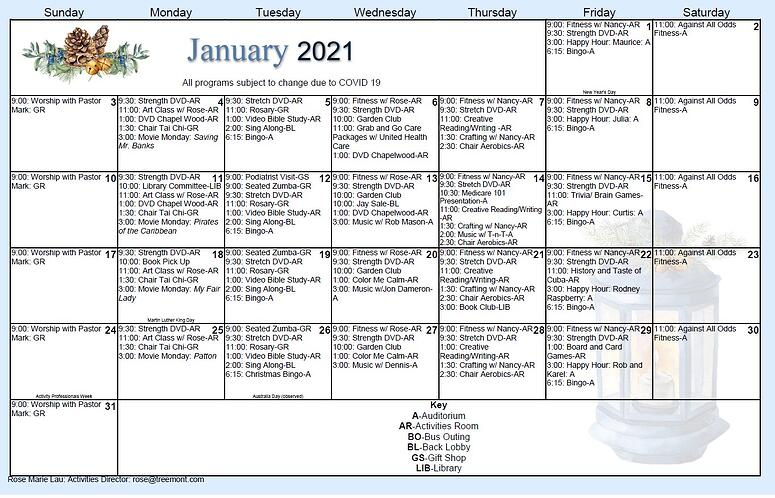 2021 Jan activity calendar senior living houston