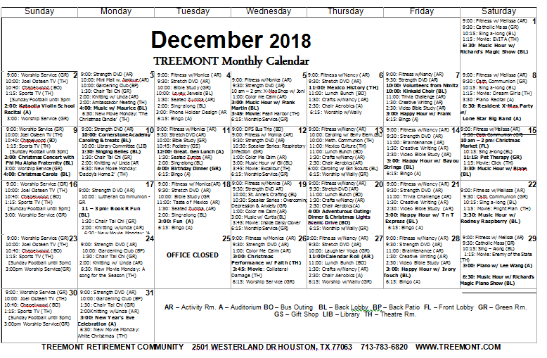Dec 2018 Calendar senior living houston