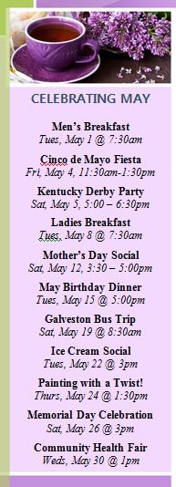 May activity calendar assisted living houston highlights