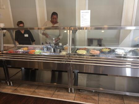 New Treemont buffet line_assisted living houston community
