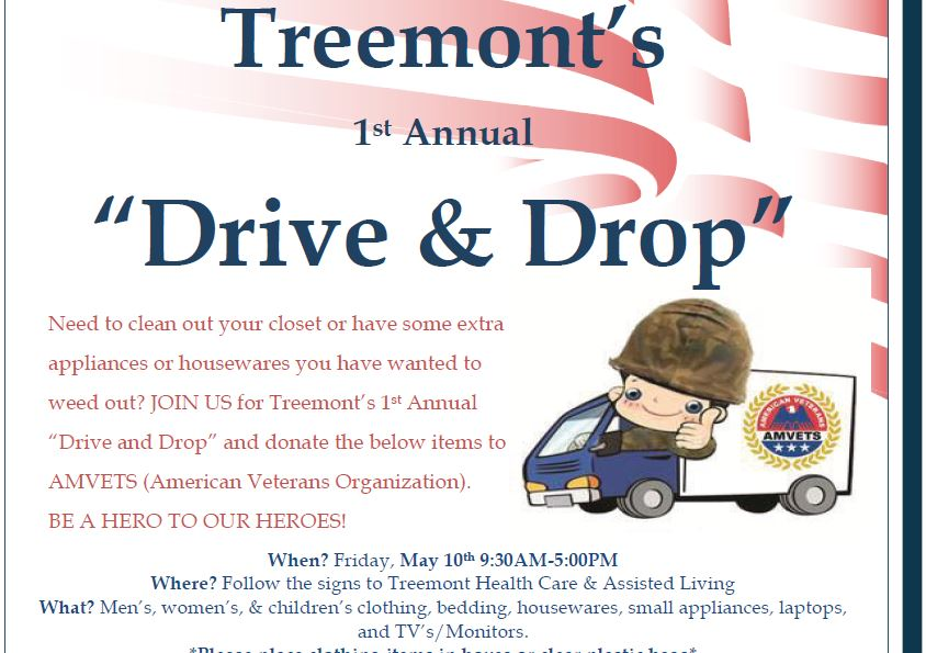 "Treemont's 1st Annual ""Drive & Drop"" in Support of our Veterans"